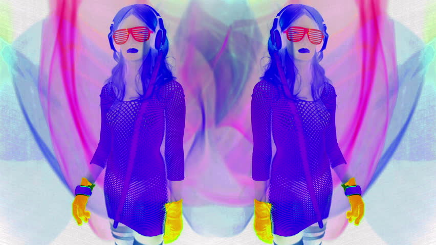Fantastic video of sexy cyber raver dancer babe filmed in fluorescent clothing under UV black light    Shutterstock HD Video #8360338