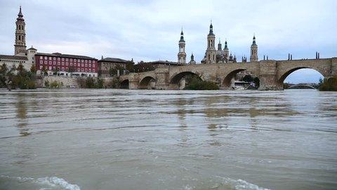 Ebro river bottom view cathedral El Pilar, Zaragoza, Spain
