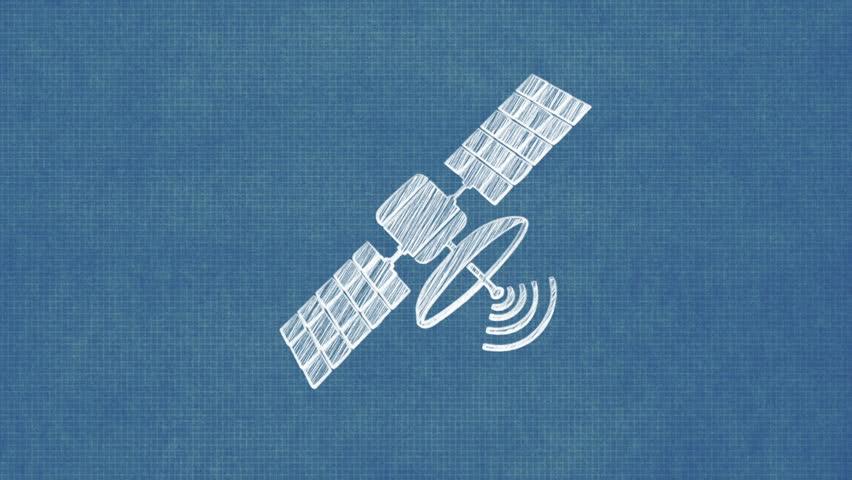 Satellite dish blueprint stop motion style animation videos de satellite blueprint stop motion style animation hd stock video clip malvernweather Images