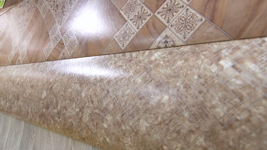 linoleum flooring background tracking shot hd stock footage clip