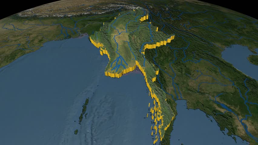 Myanmar extruded on the world map rivers and lakes shapes added myanmar extruded on the world map rivers and lakes shapes added high resolution marble raster used elements of this image furnished by nasa gumiabroncs Gallery