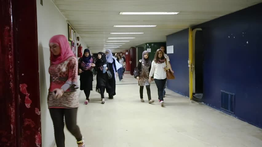 LEBANESE UNIVERSITY, LEBANON - 2014: Students in hallway. The Lebanese University is the only public institution for higher learning in Lebanon with more than 70,000 students | Shutterstock HD Video #8390218