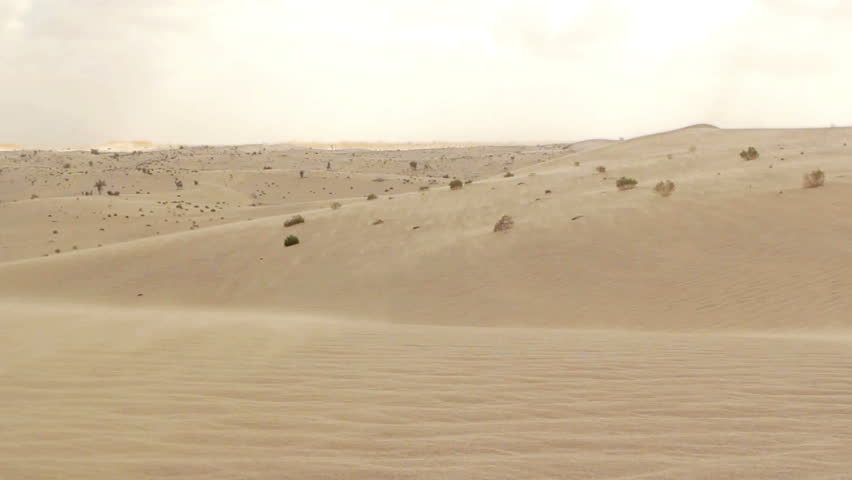 Sand blowing over the dunes in the desert