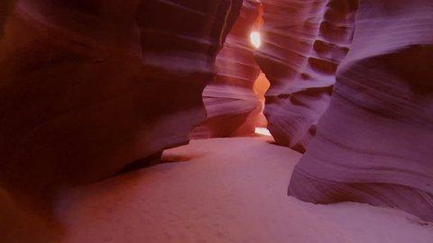 CLOSE UP: Walking through the corridors of Antelope canyon