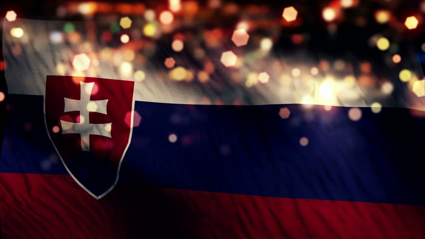 Slovakia Flag Light Night Bokeh Abstract Loop Animation 4K Resolution UHD Ultra HD