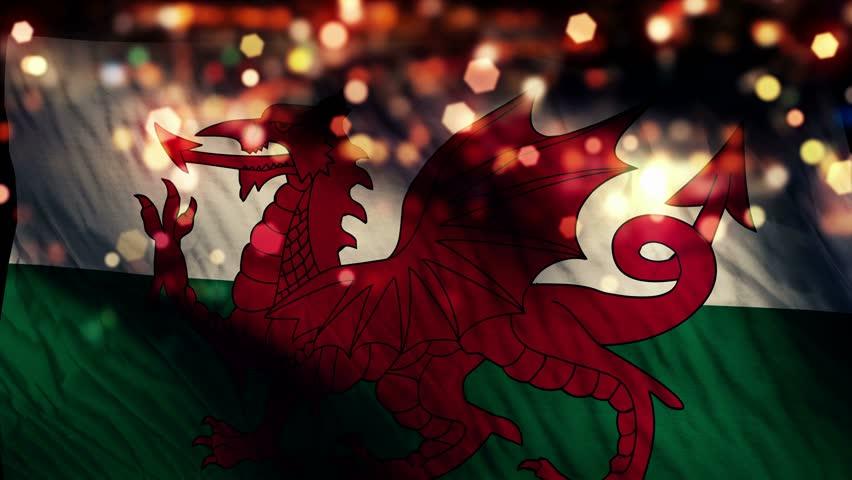 Wales Flag Light Night Bokeh Abstract Loop Animation 4K Resolution UHD Ultra HD
