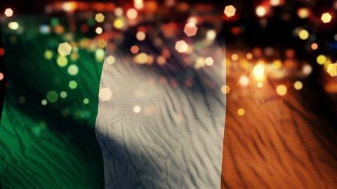 Ireland Flag Light Night Bokeh Abstract Loop Animation 4K Resolution UHD Ultra HD