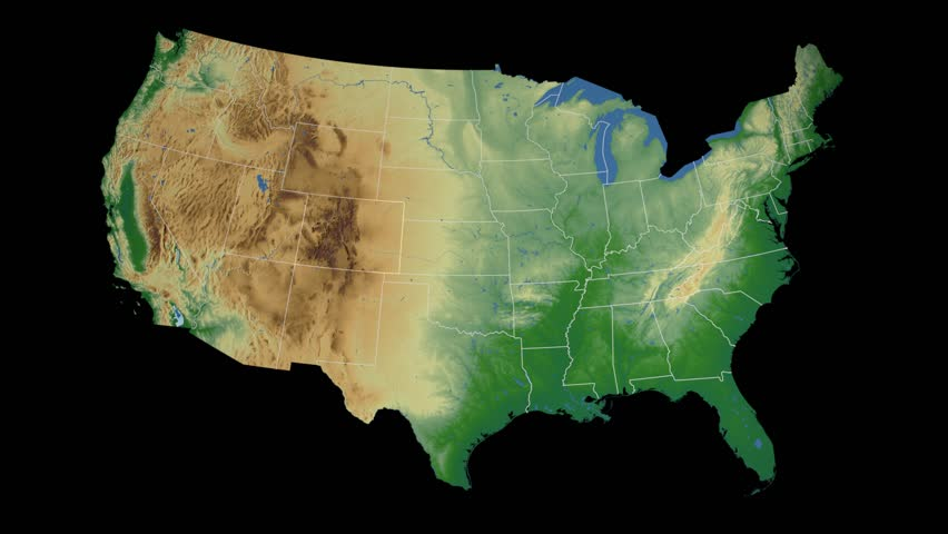 Usa Colorado State Denver Extruded On The Physical Map Of The United States