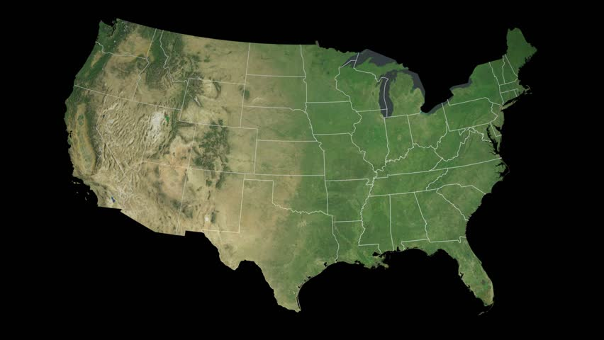 USA Texas State Austin Extruded On The Satellite Map Of The - 4k image of us map