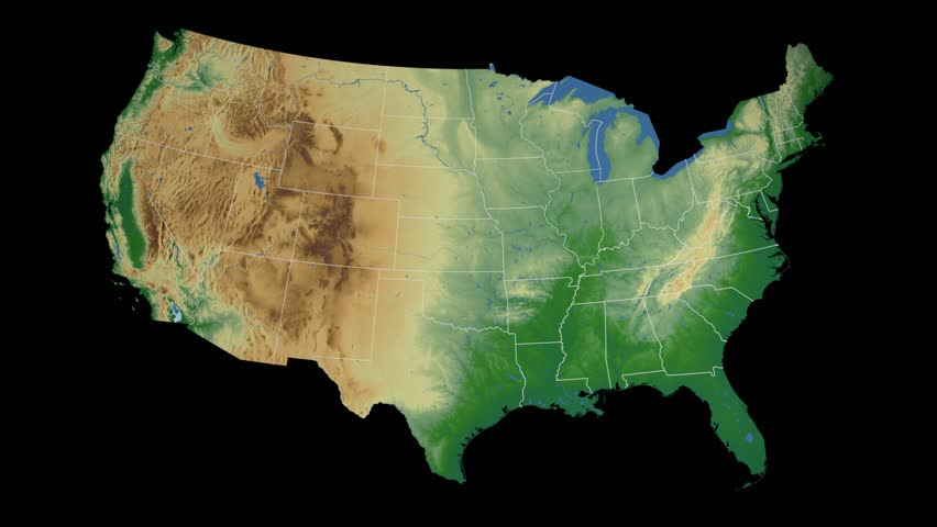 USA Tennessee State Nashville Extruded On The Physical Map Of - Physical map of the united states