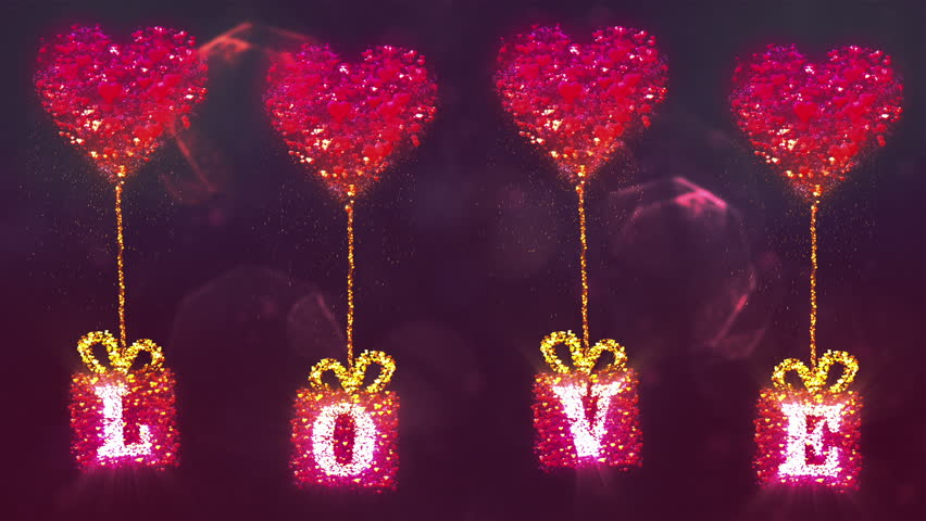 valentines day abstract backgroundflying hearts and particlesloopable hd stock video - Neon Christmas Lights