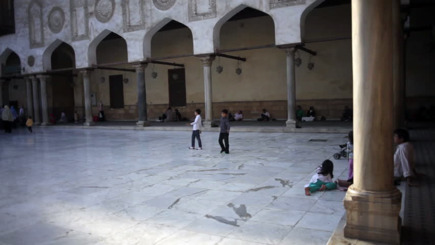 CAIRO, EGYPT - NOVEMBER 16, 2012: Young children play in the courtyard of