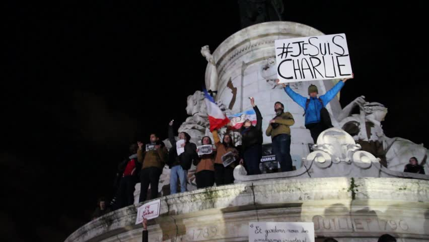 PARIS - JANUARY 8: Peaceful protest in Place de la Republique against the terrorist attack on Charlie Hebdo journal, promoting freedom of speech in Paris, France on 08 January 2015