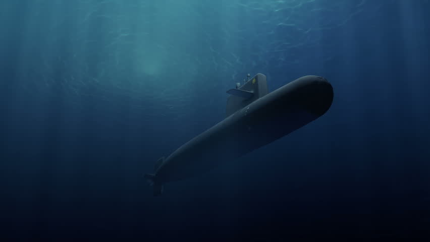 Submarine patrolling just below the water's surface