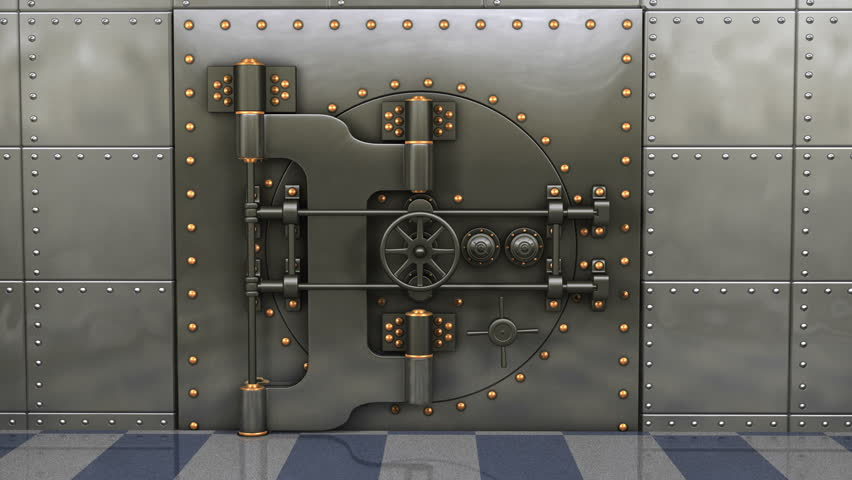 1080p Hd Resolution Video A Heavy Steel Bank Vault Slowly
