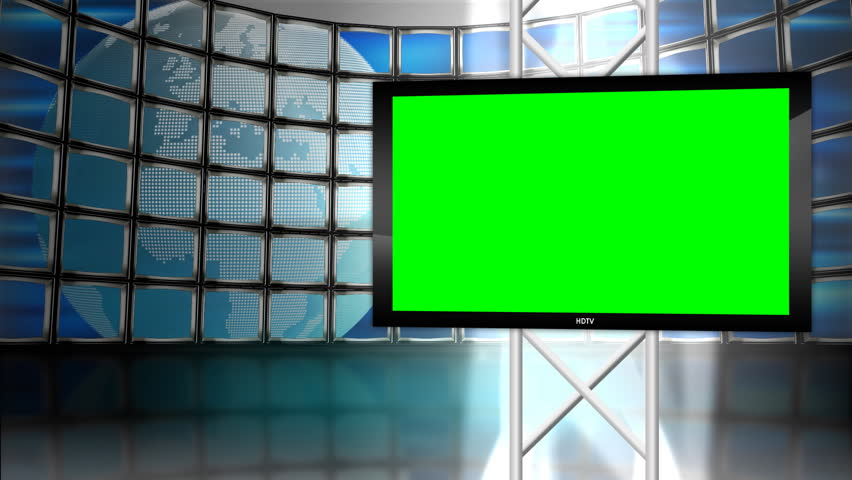 A High Definition monitor on top of a backdrop of monitors displaying the world revolving.  Perfect for green screen shoots or news projects.