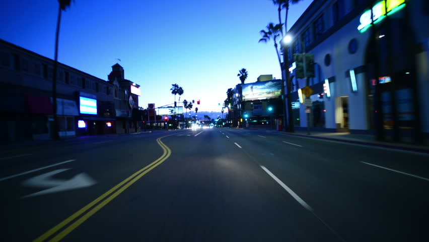 Driving Plates Hollywood Morning CAM1 Front 03 Sunset Blvd East at Crescent Heights Blvd after storm | Shutterstock HD Video #8495458