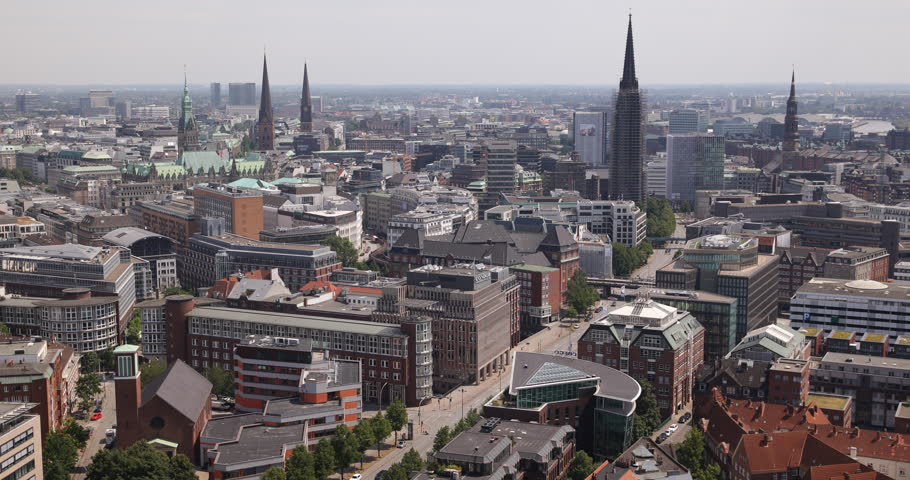 Aerial View Hamburg Ludwig Erhard Strasse Busy Street Cars Traffic Commuters Sunny Day in Germany ( Ultra High Definition, UltraHD, Ultra HD, UHD, 4K, 2160P, 4096x2160 )