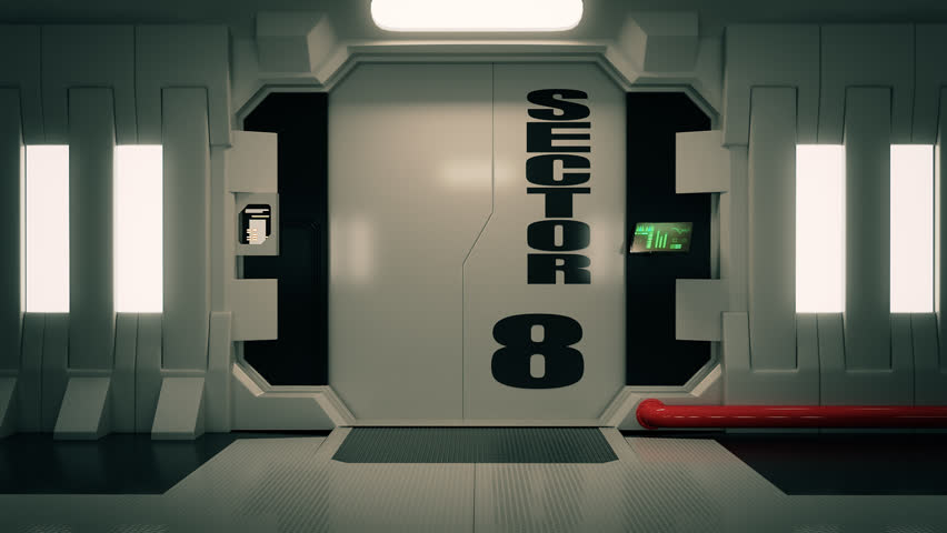 02093 Futuristic Spaceship Door Opening And Camera Slowly