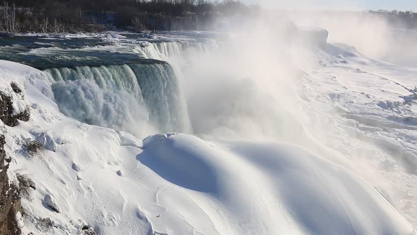 Niagara Falls in Niagara Falls State Park of New York, USA in winter, partially frozen with snow and ice. | Shutterstock HD Video #8508958