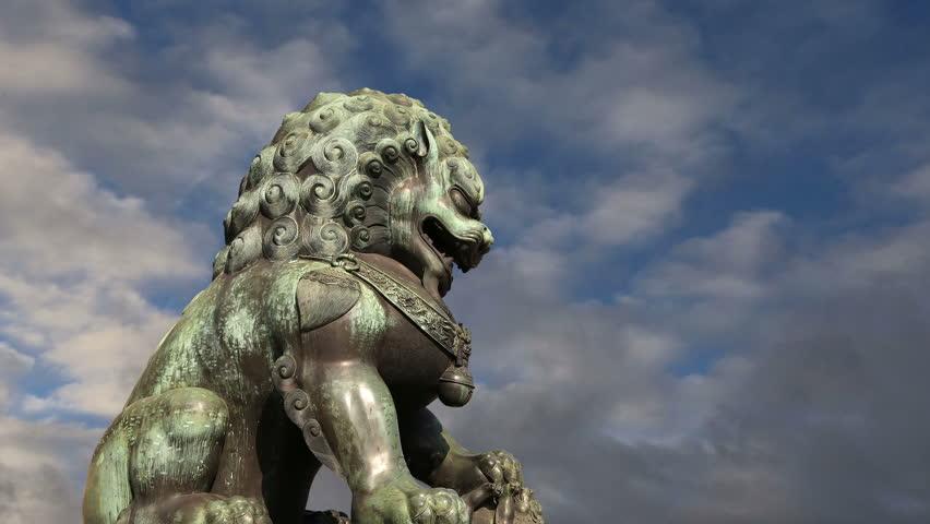Bronze Guardian Lion Statue in the Forbidden City, Beijing, China | Shutterstock HD Video #8522488