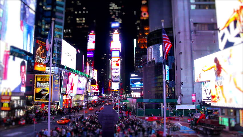 NEW YORK, USA, MAY 2014 - Super Speed Timelapse, wide shot from the center of Times Square, New York in the night. Showing the vibrancy of the square and how busy it is at night. | Shutterstock HD Video #8522809