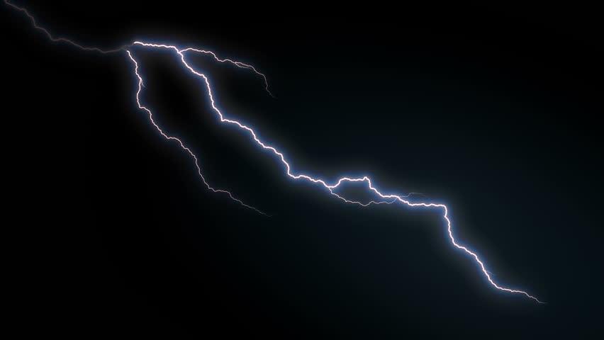 4k Lighting Strike Packs Animation, Blue Color.