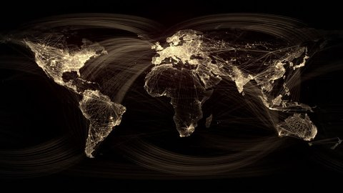 Network Lines Lighting Up World Map 4K. Gold Version. Very detailed. Can be used as a high resolution texture or projection map.