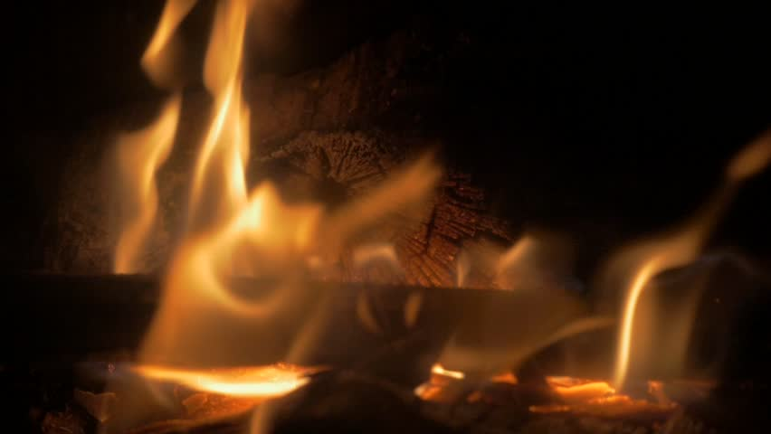 Fireplace Burning At Warm Home Close-up 1080p HD Slow Motion Video ...