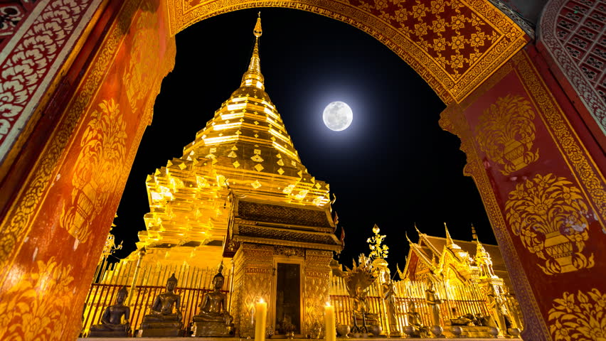 Wat Phra That Doi Suthep And Many Sky Fire Lantern ...