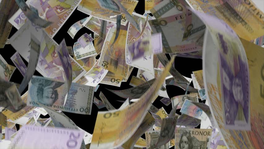 Falling Sweden Krona Video Effect simulates Falling Mixed Sweden Krona Money banknotes with alpha channel in 4k resolution  | Shutterstock HD Video #8559658