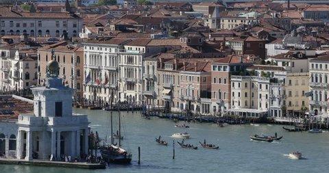 Traditional Gondola Movement Gondolier Passing Grand Canal Venice Transportation ( Ultra High Definition, UltraHD, Ultra HD, UHD, 4K, 2160P, 4096x2160 )