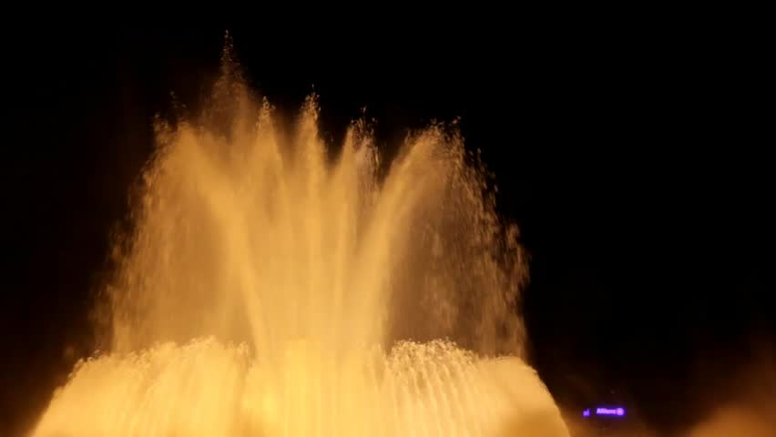 BARCELONA, SPAIN – AUGUST 22: Famous Magic Fountain at the National Palace  on August 22, 2014 in Barcelona, Spain #8580928