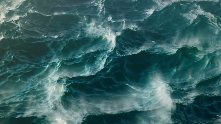 Stormy Sea Ocean Waves with Foam Whitecaps and Spray - Large waves in a windy turbulent ocean churning.  Fine misty spray rises from the choppy water and foam. | Shutterstock HD Video #8596318