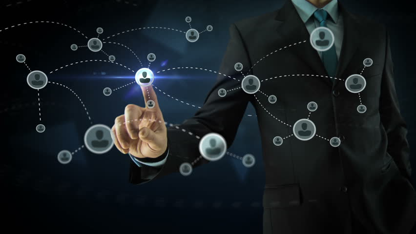 Businessman pointing on social network media concept with abstract users, sms, messages, blue dark background and animated links | Shutterstock HD Video #8599435