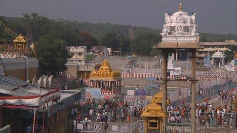 TIRUMALA - CIRCA 2014: Wide Shot of the Tirumala Sri Venkateswara Temple at Tirumala circa 2014 in Andhra Pradesh, India