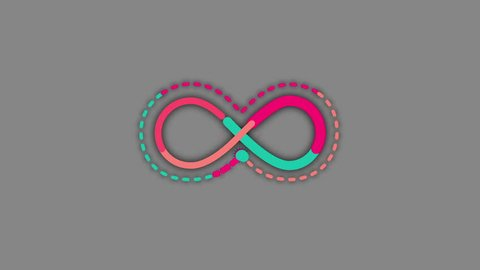 DOTTED line INFINITY SYMBOL CARTOON. Ideal for intro, logo, transitions, movies, news, commercials, TV shows, naive art related projects etc. Includes ALPHA MATTE for easy background replacement