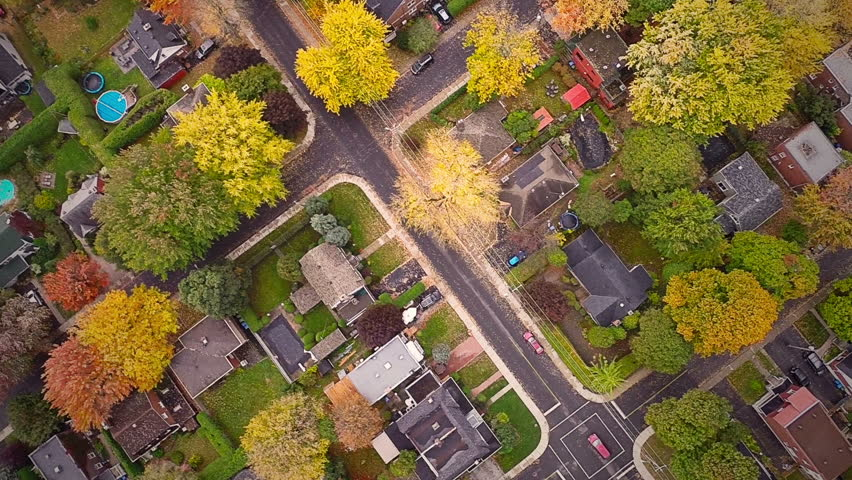 Top Suburban View of Montreal and beautiful Trees during a Cloudy Autumn day | Shutterstock Video #8627089