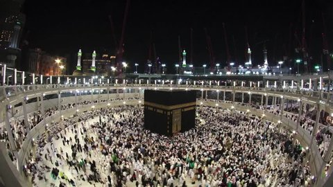 Muslim pilgrims circumambulate counter clockwise the Kaaba at Masjidil Haram in Makkah, Saudi Arabia. Muslims all around the world face the Kaaba during prayer time.
