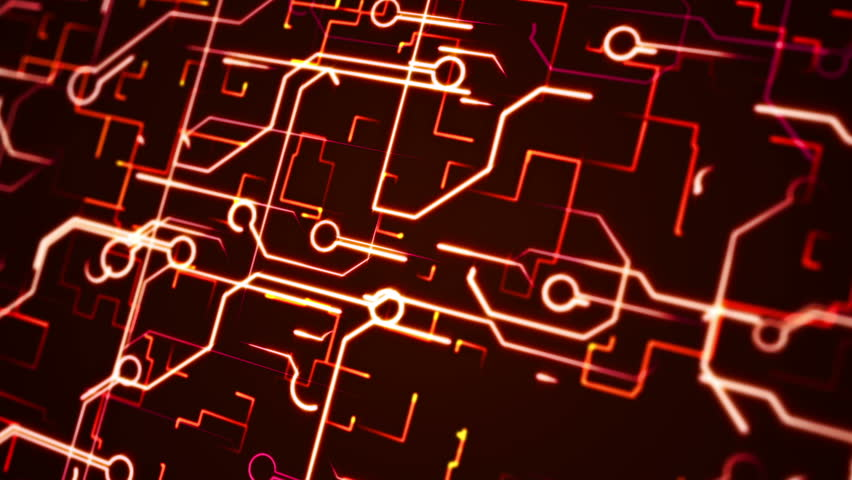 computer circuit board red loopable background abstract chip and light lines technology abstract animation background