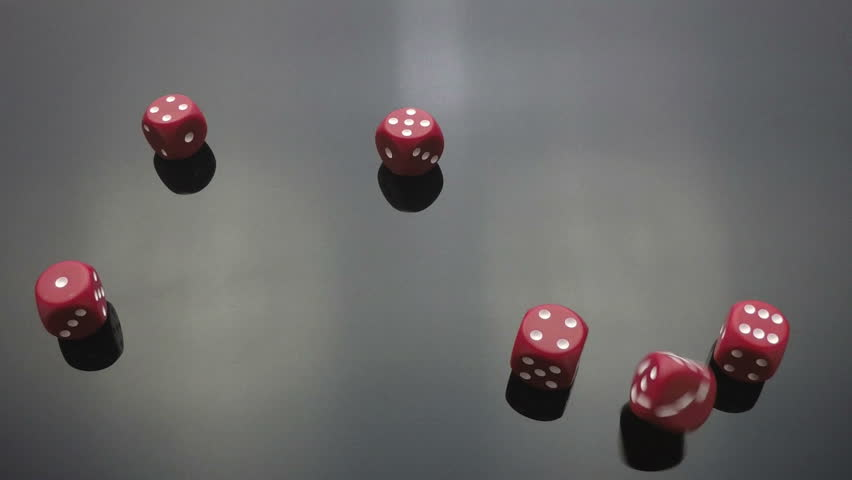 Slow motion clips of red dice cast, throw, falling on black reflective surface | Shutterstock HD Video #8668768