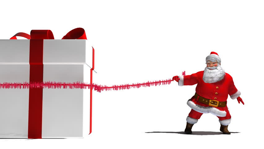 Santa pulls a large present on to screen.