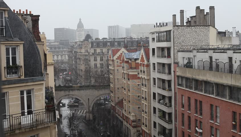 Snowfall in Paris, rooftop view of Gare de Lyon Clock Tower