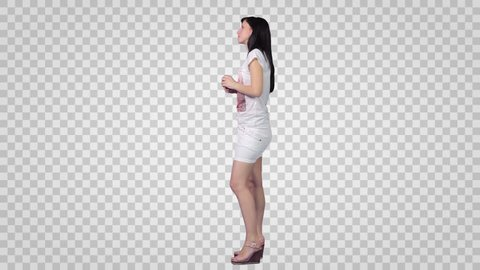 Brunette Girl in white shirt and short skirt. Side view. Footage with alpha channel. File format - mov. Codeck - PNG+Alpha Use these footage to combine with other people footage to make crowd effect