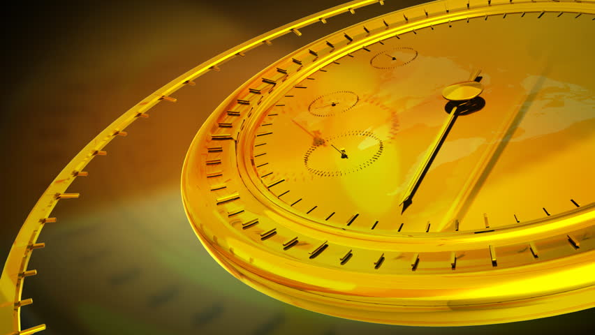 Computer-rendered animation for current event with gold clock.