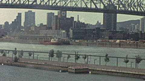 MONTREAL - 1976: Jacques Cartier Bridge in 1976 in Montreal