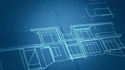 Architecture house plan background. Blueprint animation. Writing on blueprint paper.