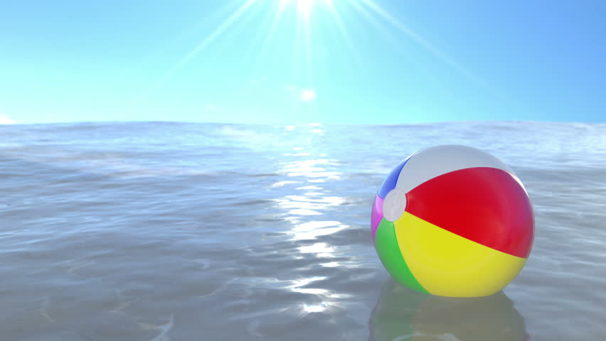 Beach ball in ocean Colourful Beach Ball Floating On The Water Loop Ready Animation Shutterstock Beach Ball Floating On The Stock Footage Video 100 Royaltyfree