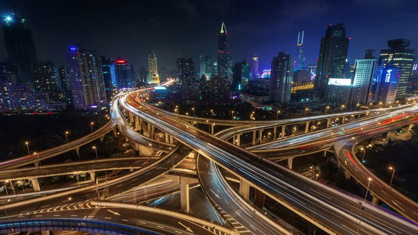 night light traffic multi-level junction 4k time lapse from shanghai