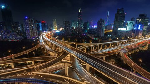 night light traffic multi-level junction 4k time lapse from shanghai